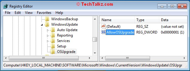 Registry Key to Force Windows 10 Upgrade