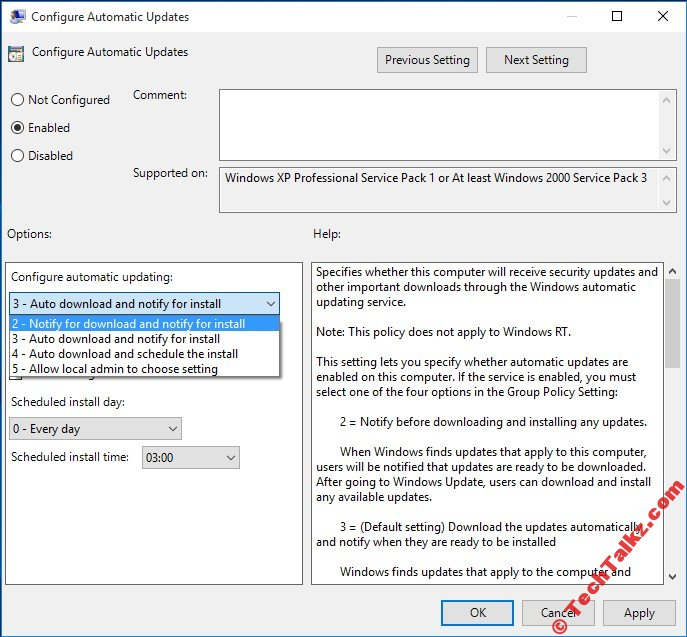 Windows 10 Configure Automatic Updates Policy Settings