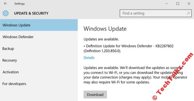 Windows 10 Download Updates on WiFi